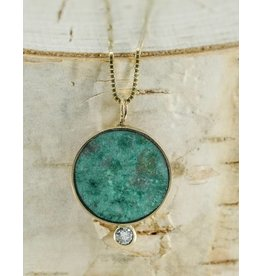 """Young In The Mountains Solis Necklace Chrysocolla 14kG White Diamond 18"""" chain"""