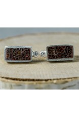 Young In The Mountains Rectangle Dino Bone Studs .03ct white diamond sterling silver