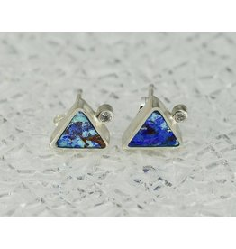 Young In The Mountains Triangle Stud Earrings Azurite .03ct white diamonds sterling silver