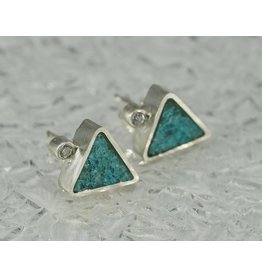 Young In The Mountains Triangle Stud Earrings Chrysocolla .03ct white diamond sterling silver
