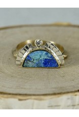 Young In The Mountains 1/2 Sol Ring Azurite, 5, 14kG  .03ct white diamonds