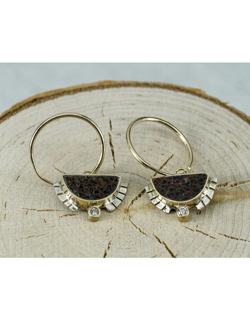 Young In The Mountains 1/2 Sol Hoop Dino Bone Earrings.03ct white diamonds, 14kG