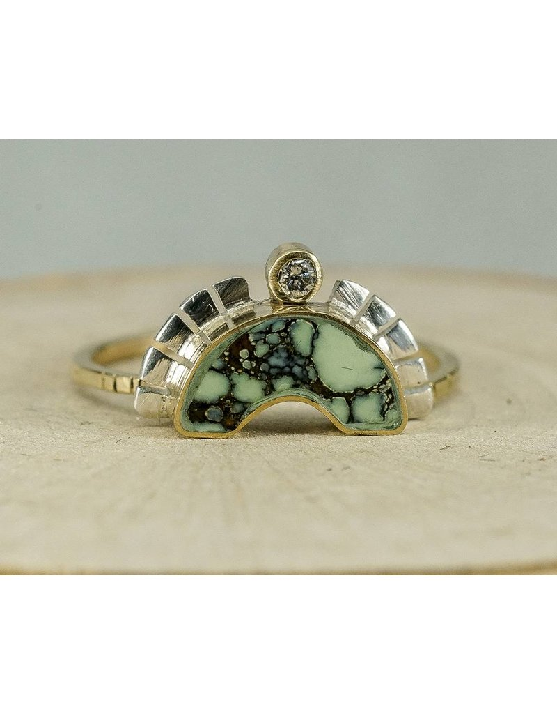 Young In The Mountains Nina Set of 3 Rings, Turquoise, 14kg, 6, .33 ct white diamond