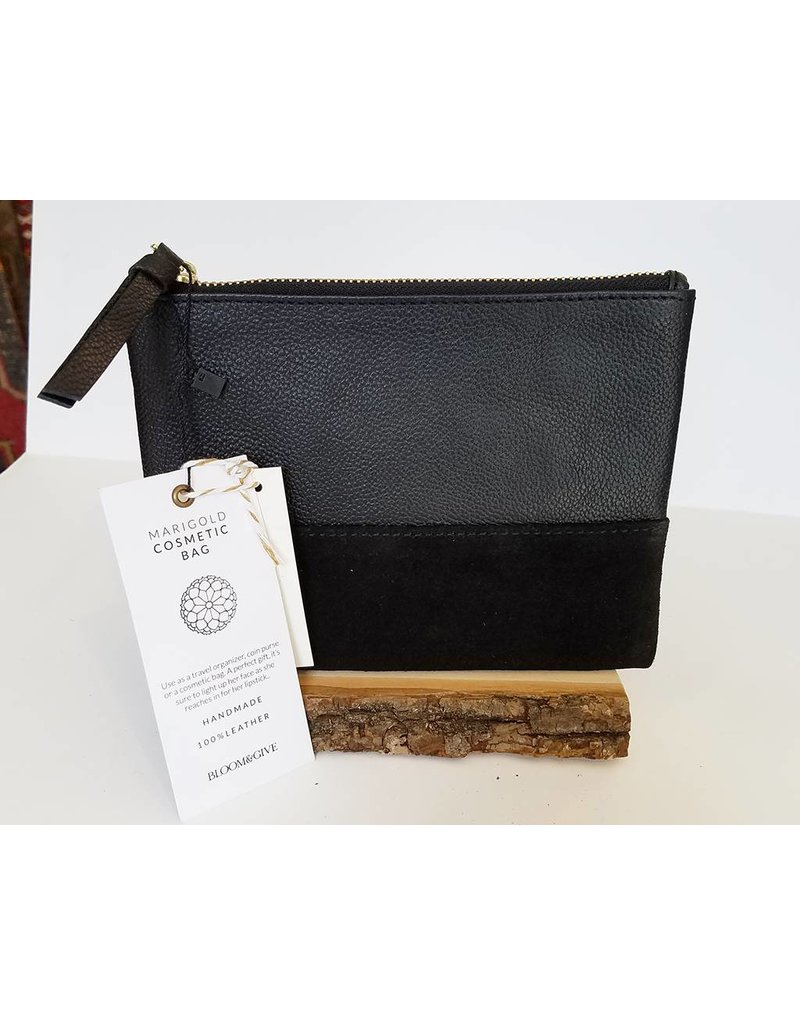 Bloom & Give Marigold Cosmetic Bag-Black