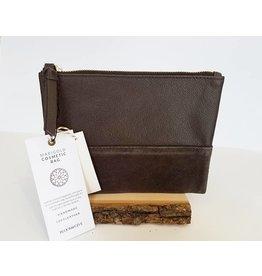 Bloom & Give Marigold Cosmetic Bag-SaddleBrown