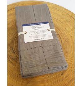 Bloom & Give Picot Handloomed Napkins-set of 4 Grey