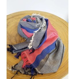 Bloom & Give Tres Cotton Scarf-Blue