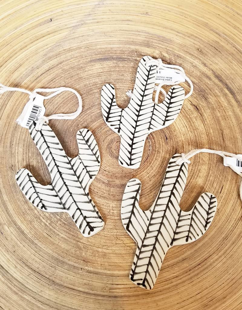 Gopi Shah Ceramics Cactus Ornament White Chevron