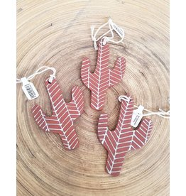 Gopi Shah Ceramics Cactus Ornaments Brown Chevron