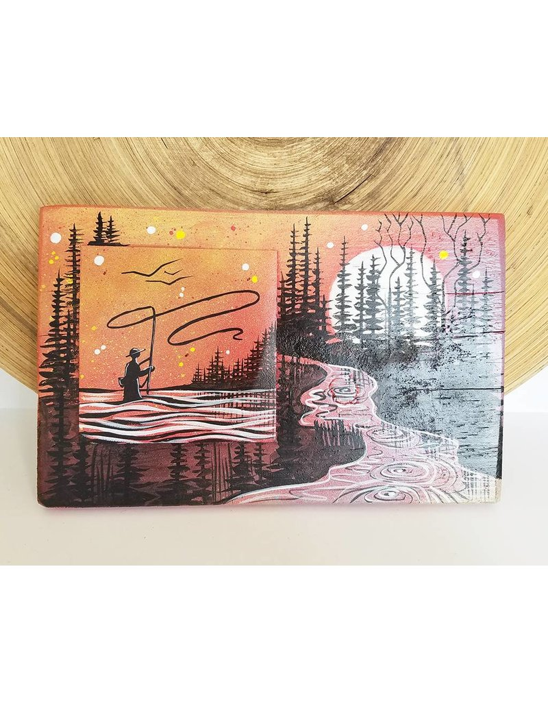 Basin Reclaimed Painted Wood Art-Fly Fishing