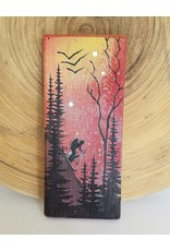 Basin Reclaimed Painted Wood Art Small-Skier