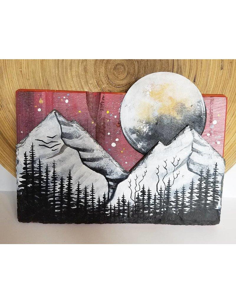 Basin Reclaimed Painted Wood Art Medium-Mountains Moon Scene