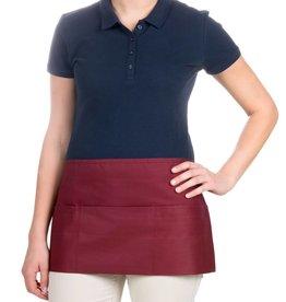 "Chef Revival Waist Apron 24"" x 12"" (3) pocket, poly-cotton blend burgundy"