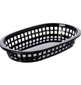 "Tablecraft A La Carte Oval Platter Basket, 9-1/4"" x 6"" Black"