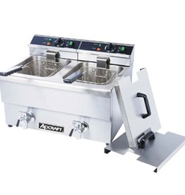 Adcraft Electric Countertop Fryer with faucet, Double Wells 208V