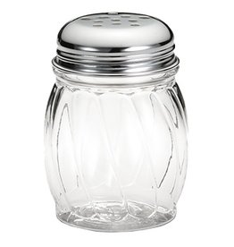 Tablecraft Cheese Shaker 6 oz Swirled Glass, Stainless Steel Perforated Top