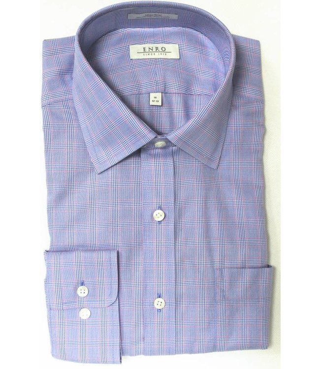 Enro Enro Mayfair check Blue Spread CollarBig & Tall Shirt