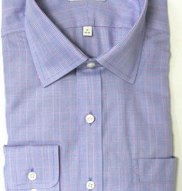 Enro Enro Mayfair check Blue Spread Collar Shirt