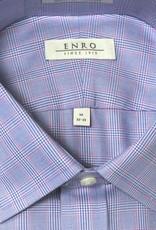 Enro Enro Mayfair check Blue Spread Collar Shirt