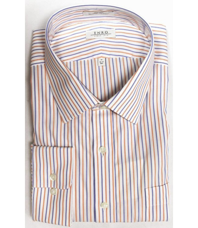 Enro Enro Morgan Stripe Orange Spread Collar Big & Tall Shirt
