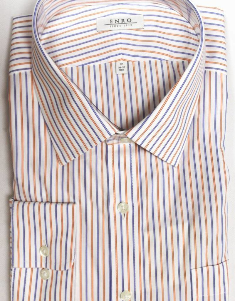 Enro Enro Morgan Stripe Orange Spread Collar Big & Tall Shirt