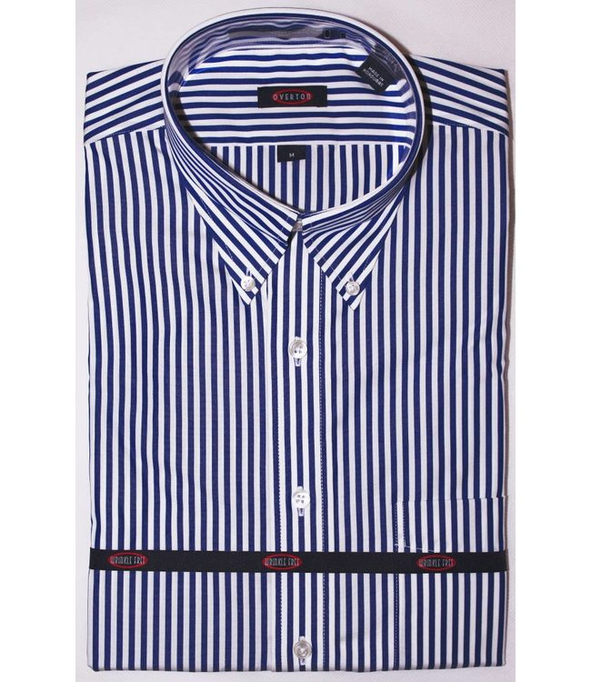 Overton Overton Royal Blue Stripe Full Sleeve