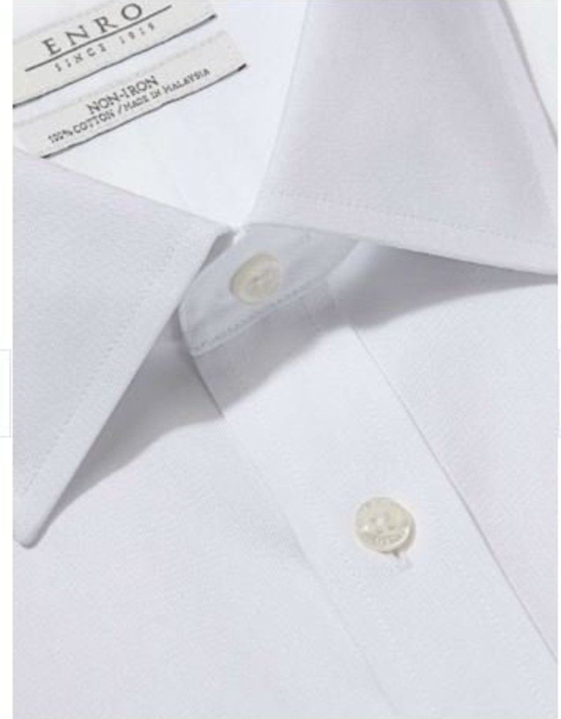 Enro Tailored Fit-Newton Pinpoint Oxford Spread Collar Non-Iron Dress Shirt In White