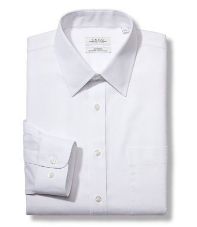 Enro Newton Pinpoint Oxford Point Collar Non-Iron Dress Shirt In White