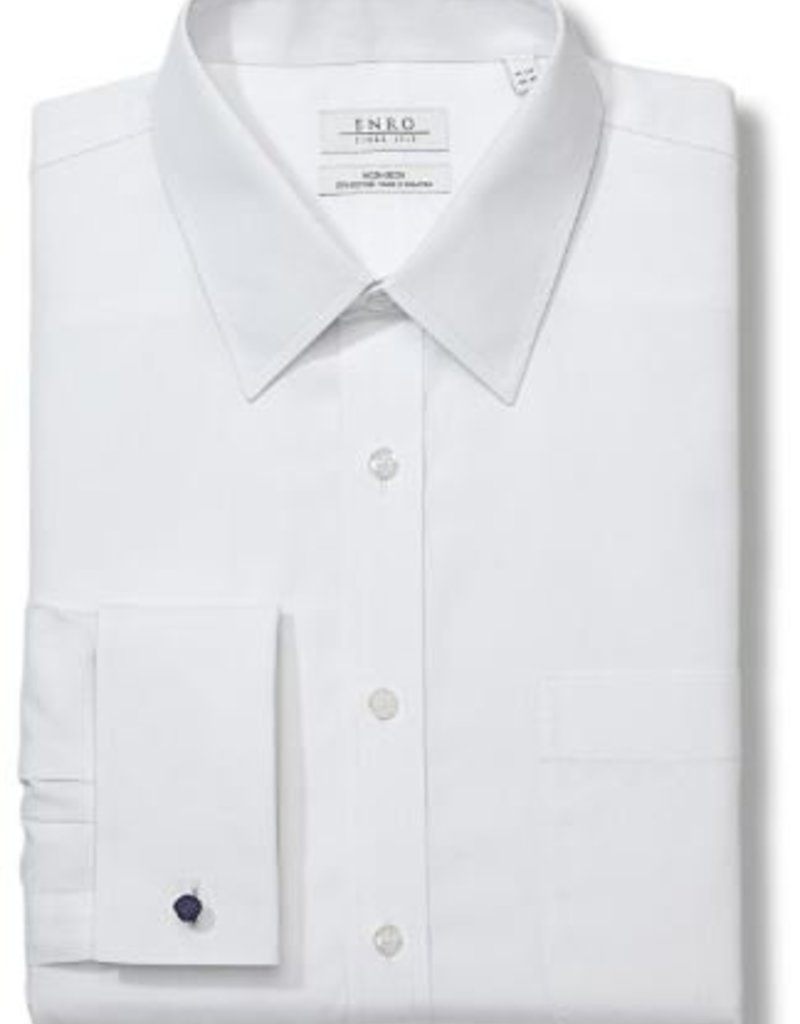 Enro Newton Pinpoint Oxford Point Collar Non-Iron Dress Shirt With French Cuff in White