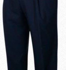 Self Sizer Pleated Front Polyester Wool Blend Tropical Dress Pants in Navy