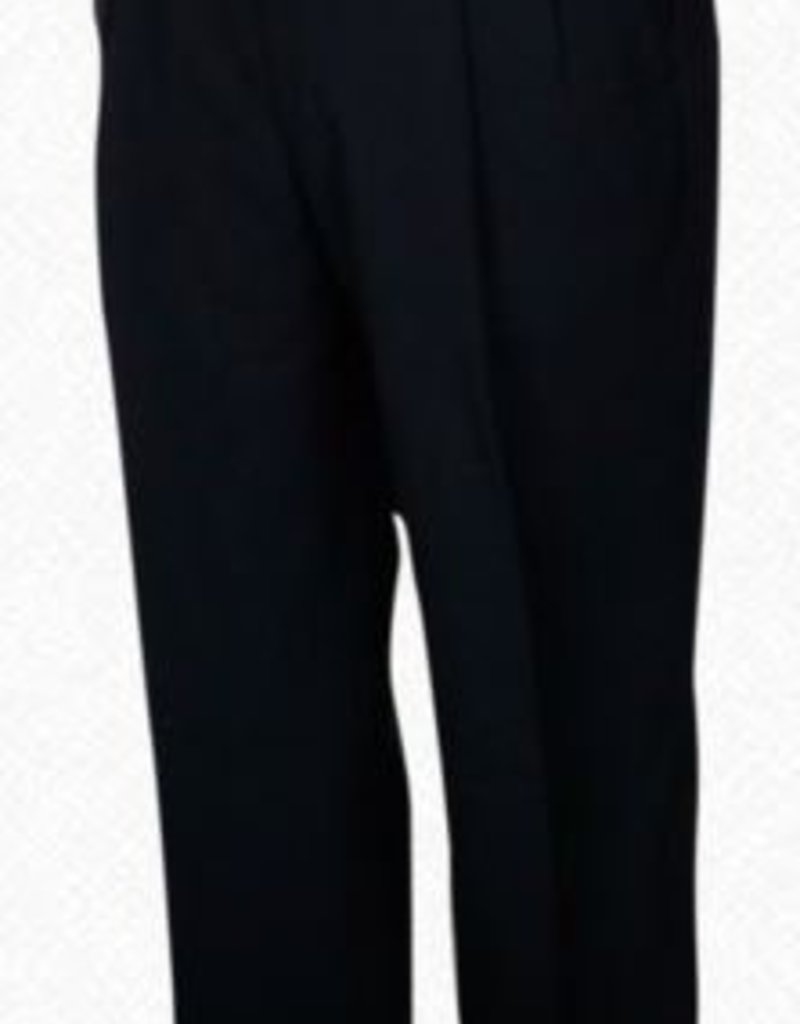 Self Sizer Pleated Front Polyester Wool Blend Tropical Dress Pants in Black