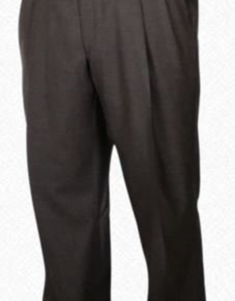 Self Sizer Pleated Front Polyester Wool Blend Tropical Dress Pants in Brown