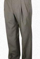 Self Sizer Pleated Front Polyester Wool Blend Tropical Dress Pants in Light Olive