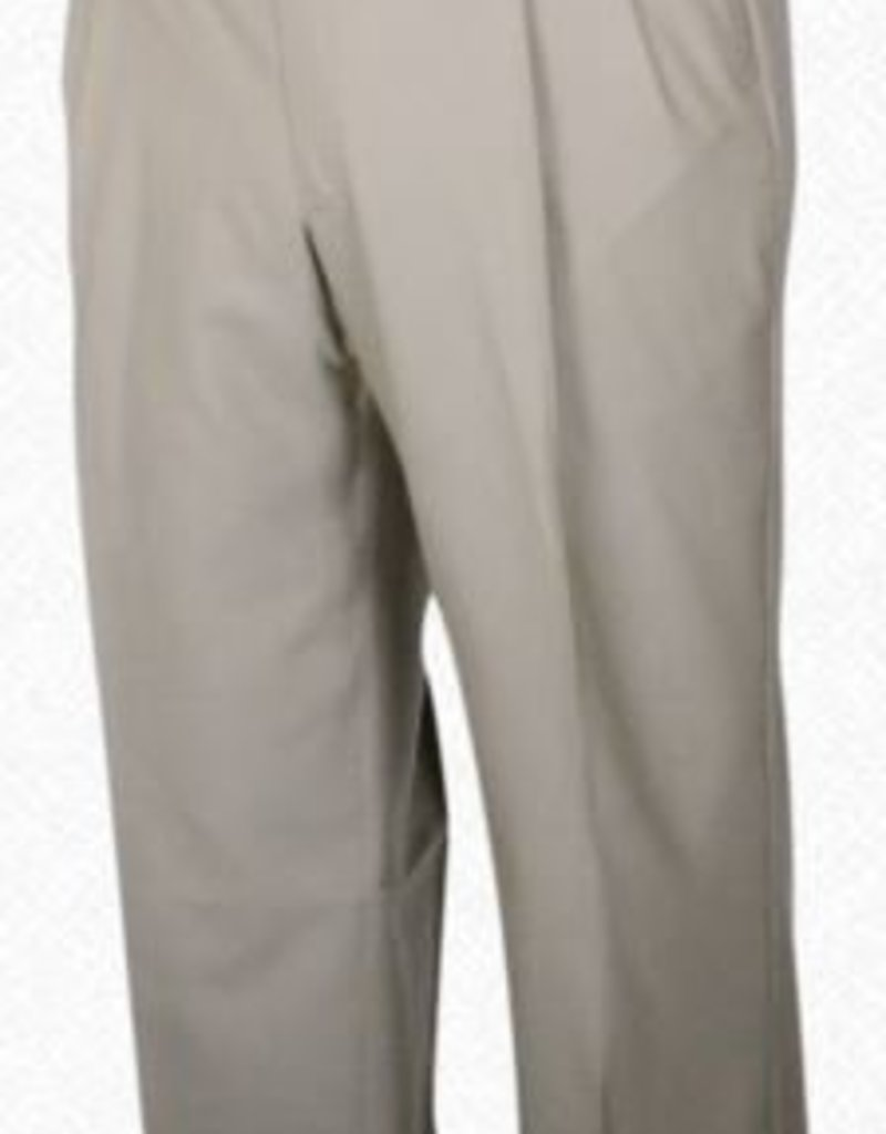 Self Sizer Pleated Front Polyester Wool Blend Tropical Dress Pants in Tan