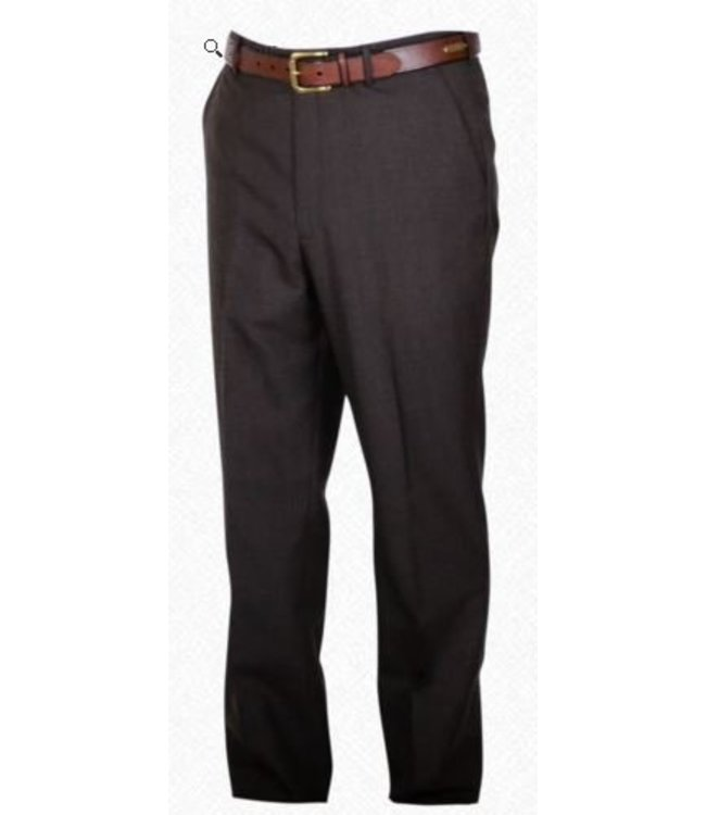 Self Sizer Flat Front Polyester Wool Blend Tropical Dress Pants in Brown