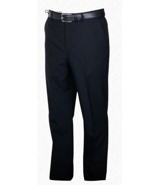 Self Sizer Flat Front Polyester Wool Blend Tropical Dress Pants in Black