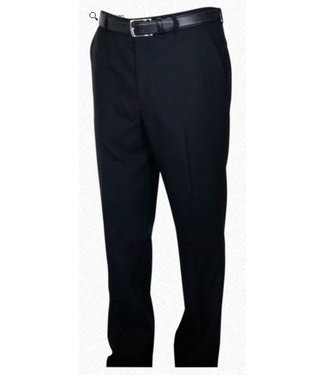 Self Sizer Flat Front Polyester Wool Blend Tropical Dress Pants in Charcoal