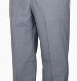 Self Sizer Flat Front Polyester Wool Blend Tropical Dress Pants in Light Grey