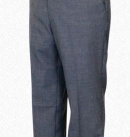 Self Sizer Flat Front Polyester Wool Blend Tropical Dress Pants in Mid Grey