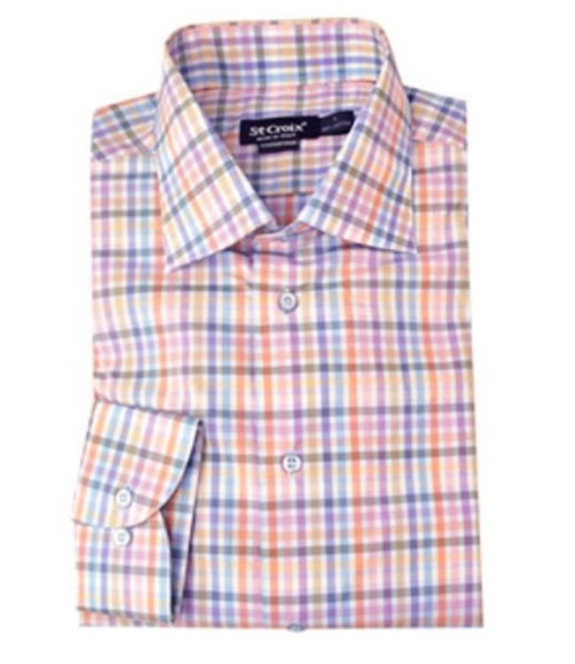 St. Croix LS Soft Color Check Shirt HBD