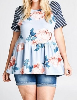 Blue Floral French Terry Peplum Top -