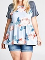 Oddi Blue Floral French Terry Peplum Top -