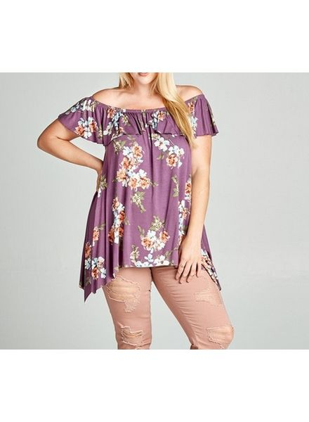 Orchid Floral Printed Off The Shoulder Top -