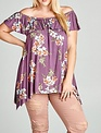 Oddi Orchid Floral Printed Off The Shoulder Top -