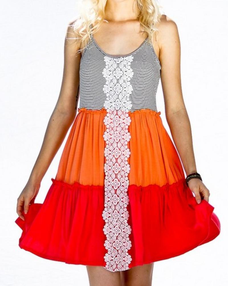 Color Block Crochet Dress