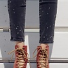 Red Lace Up Open Toe Bootie -