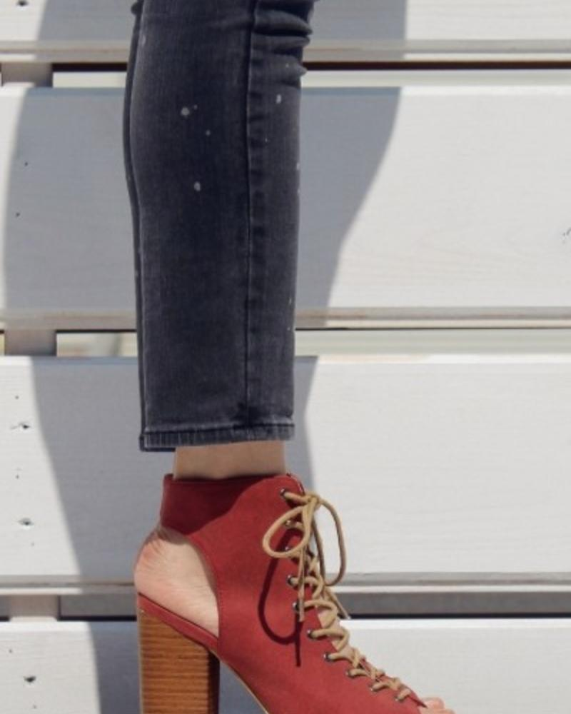 Let's See Style Red Lace Up Open Toe Bootie -