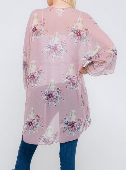 Lovely J Blush Floral & Bull Horn Kimono -