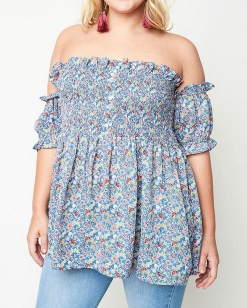 HAYDEN LOS ANGELES BLUE FLORAL OFF THE SHOULDER TOP F.FIGURED -