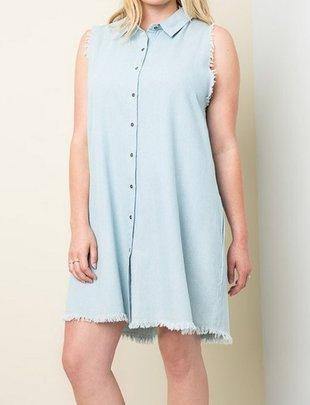 HAYDEN LOS ANGELES DENIM SHIRT DRESS F.FIGURED -